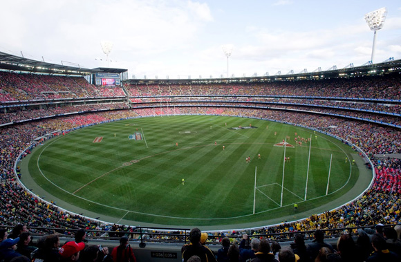 Melbourne Cricket Ground wide shot during football game