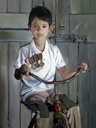 Painting by Mertim Gokalp of little boy on bike with medals