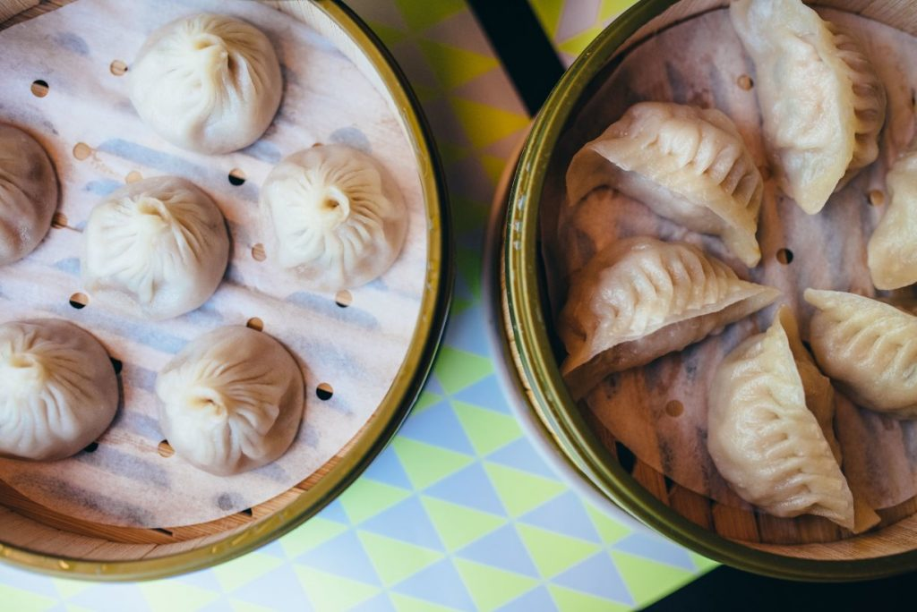 Two baskets of steamed dumplings