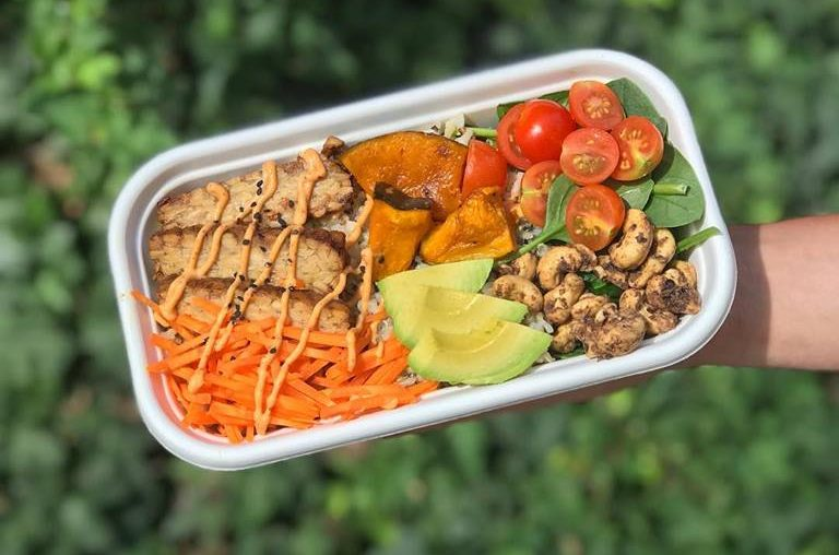 Colourful takeaway dish of salad from Broad Bean Organic Grocer