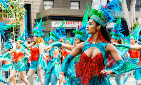 Samba dancers in a parade