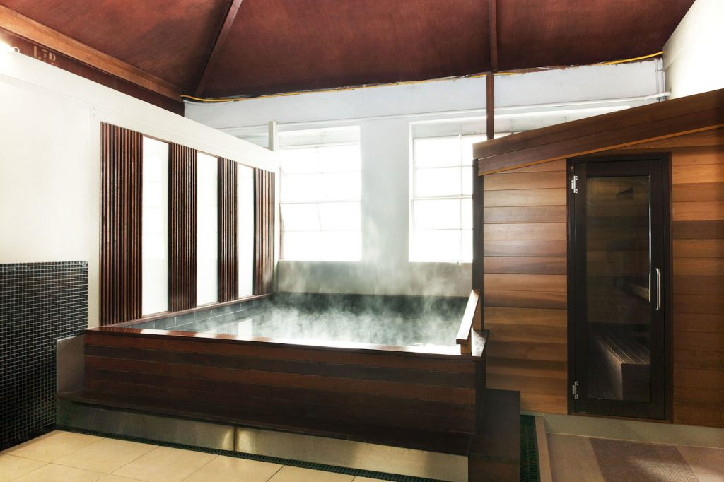 A spa with steam coming out of it
