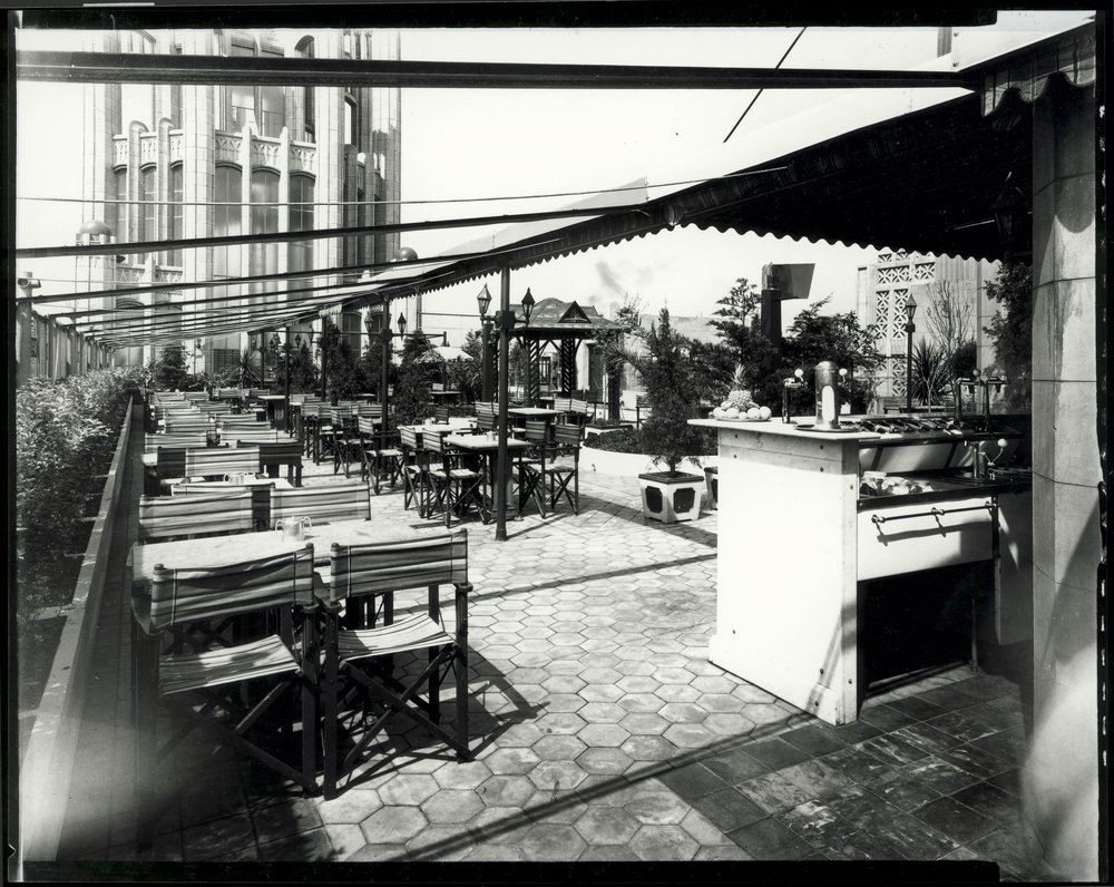 An old photo of a rooftop cafe