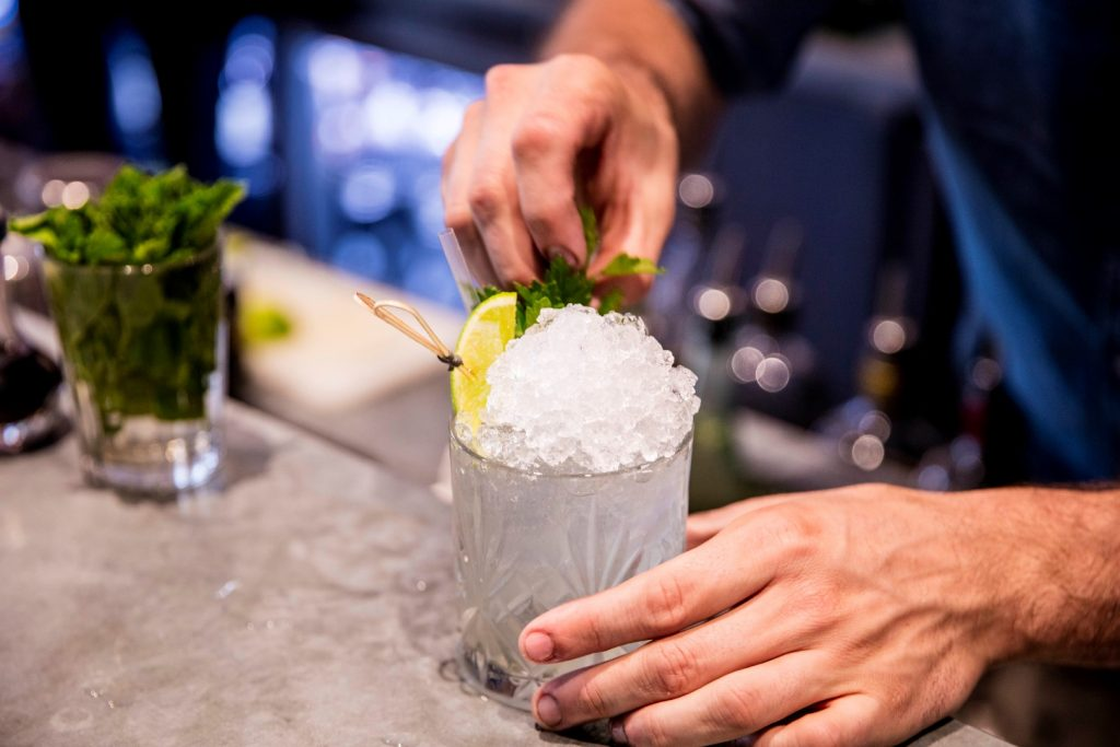 A cocktail being made