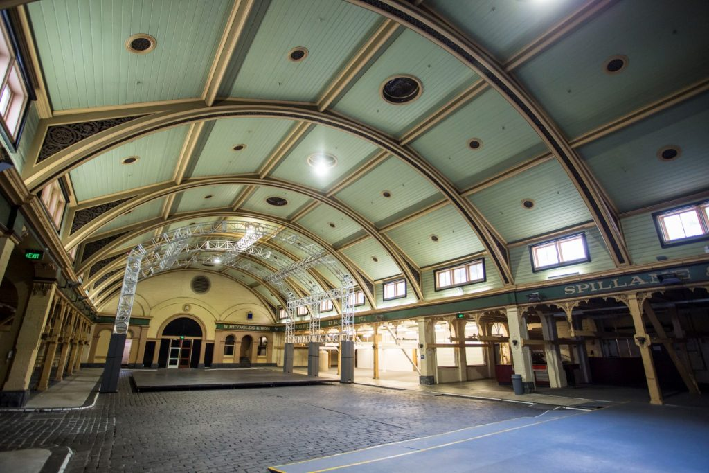 A photo of a big hall in an old building