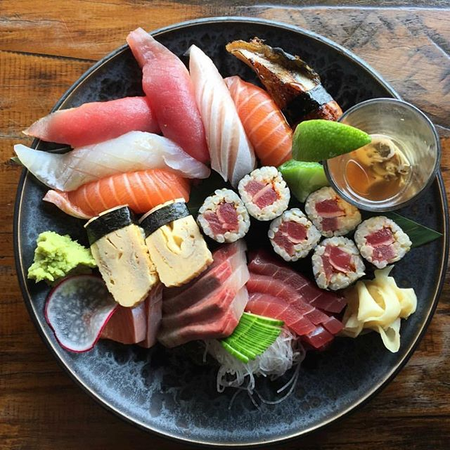 A big plate of sushi