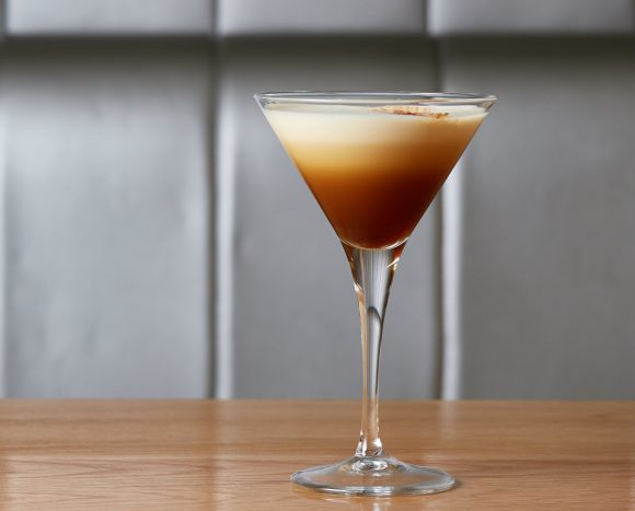 An espresso martini on a table