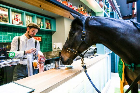 A man behind a bar is serving beer while a horse waits in front of the bar.