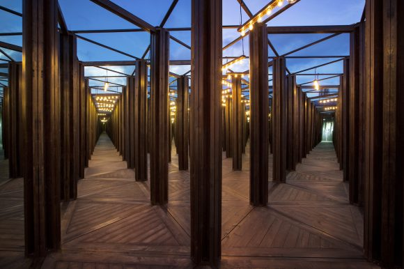 An outdoor installation made of mirrors