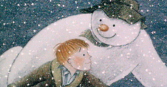 A book illustration of a snowman and small boy.