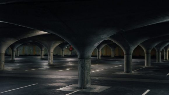 An empty dark car park