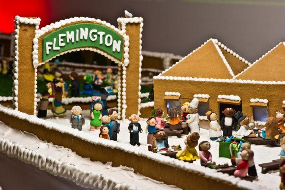 A modle of Flemington Racecourse made of gingerbread