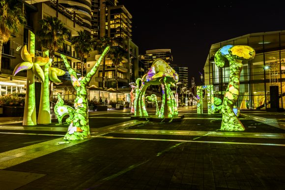 A series of light up sculptures on a plaza at night with lit up buildings behind them