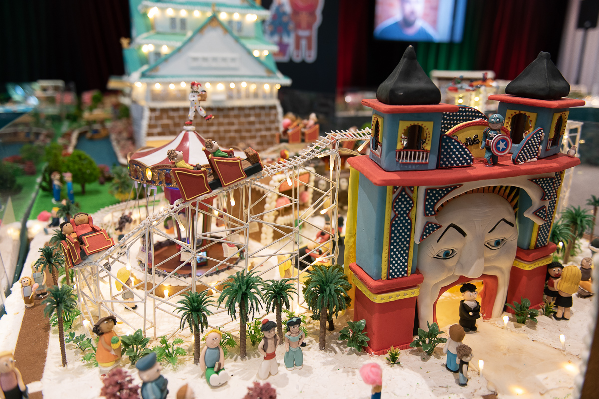 A miniature amusement park made out of gingerbread