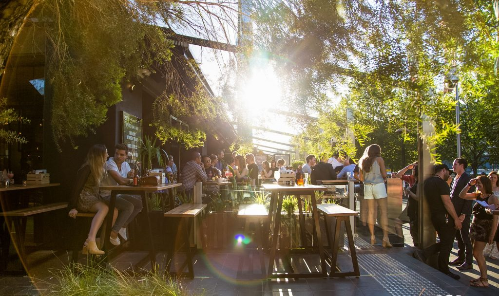 An outdoor bar area with greenery and wooden tables, sunlight coming in through from behind