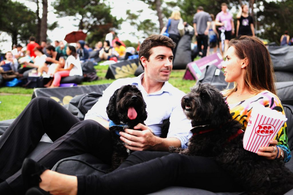 Two people and two dogs sitting on beanbags outdoors