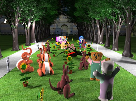 A collection of giant animal toys on a lawn in front of an old building and some trees