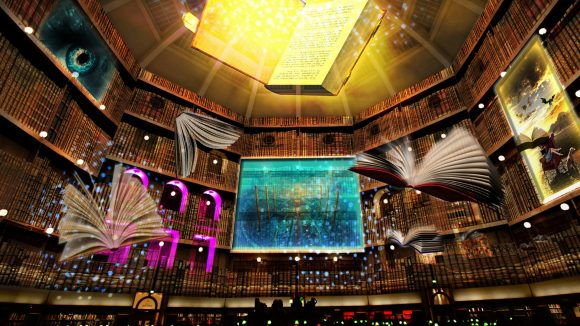 The inside of a library with light projections on the walls