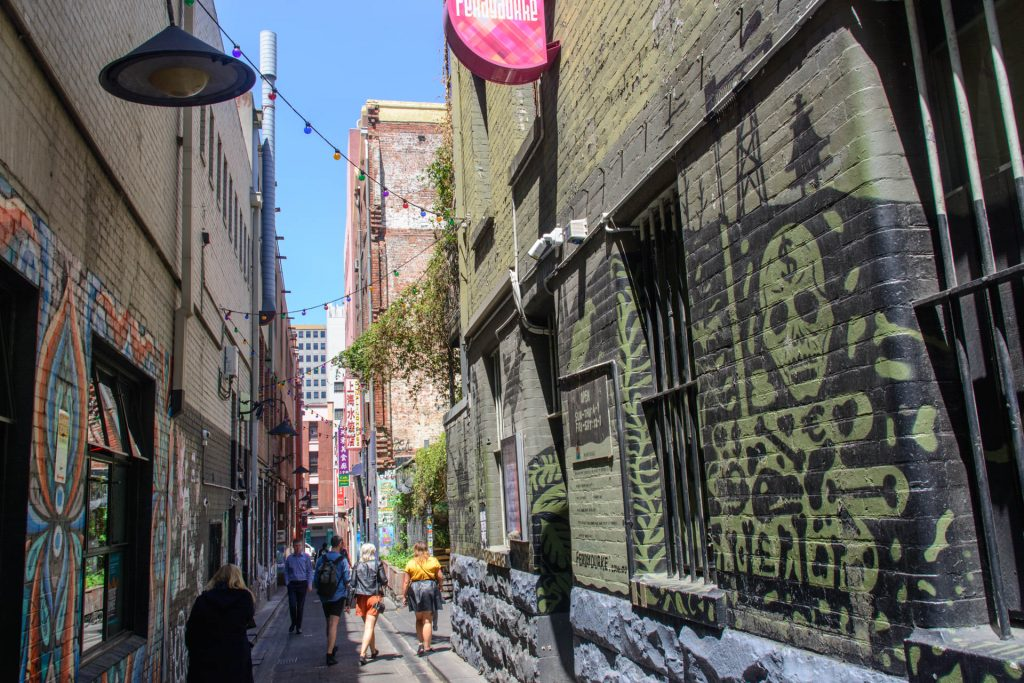 A narrow laneway with street art on the walls