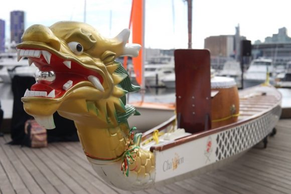 A dragon boat on the water