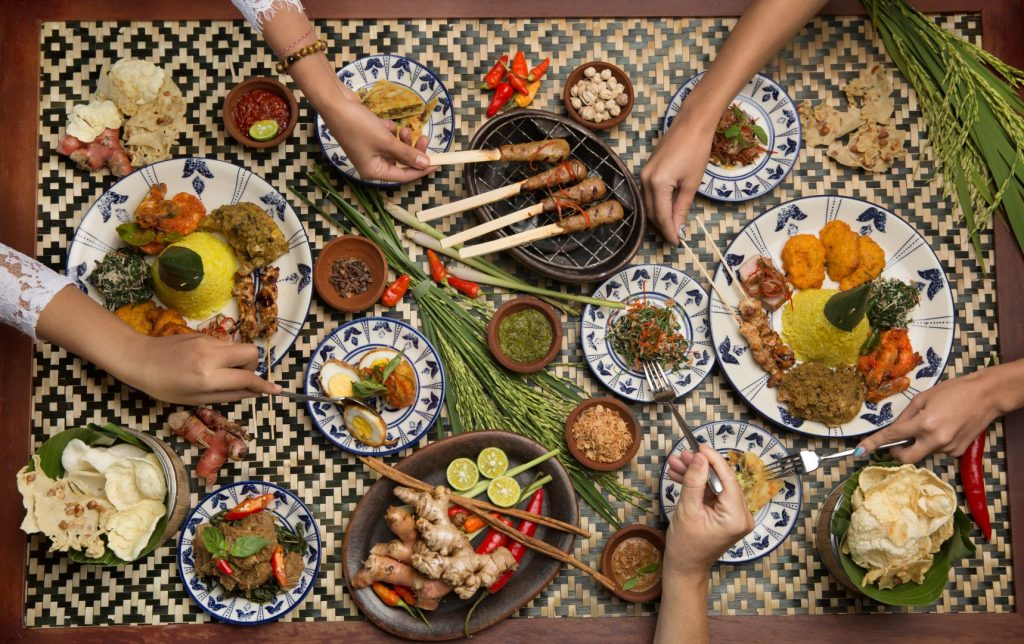 Many different Malaysian food dishes. Various indonesian bali food
