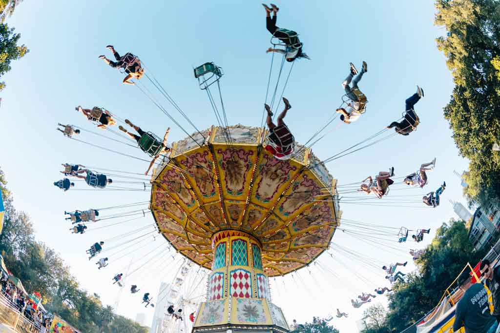 A carnival ride in daylight
