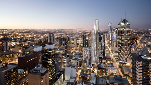 A futuristic picture of Melbourne's cityscape, including current and future buildings