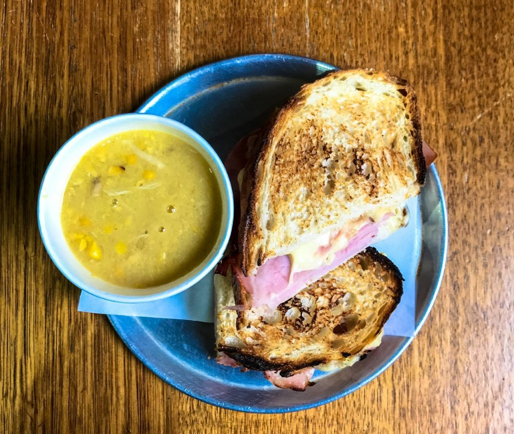 Soup with ham and cheese toastie