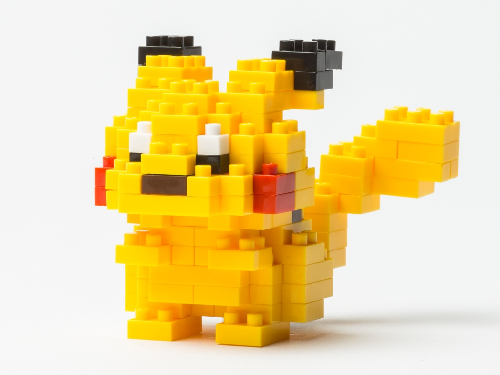 Lego model of yellow Pokemon character, Pikachu.