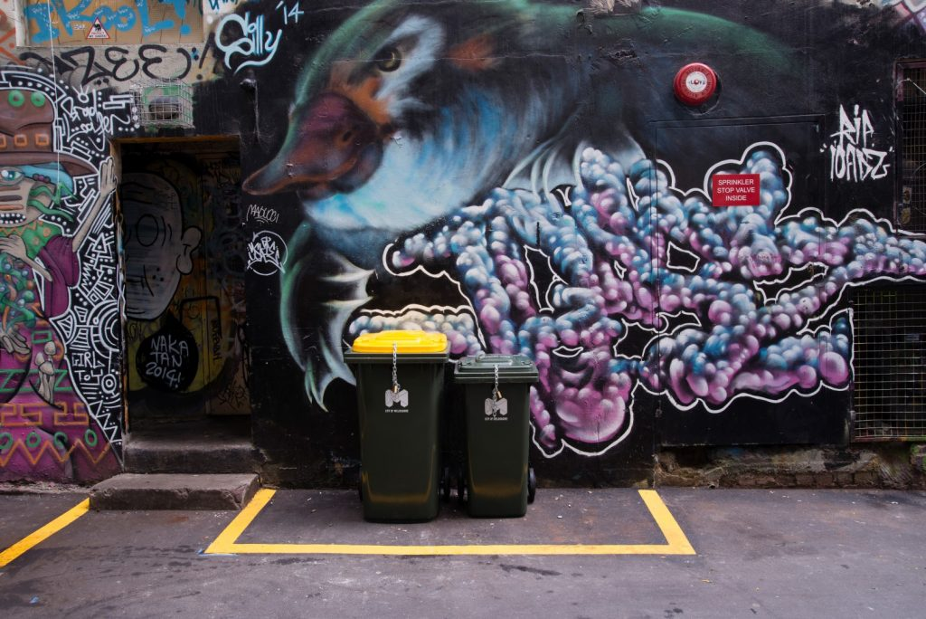 Tow bins in front of a wall of street art
