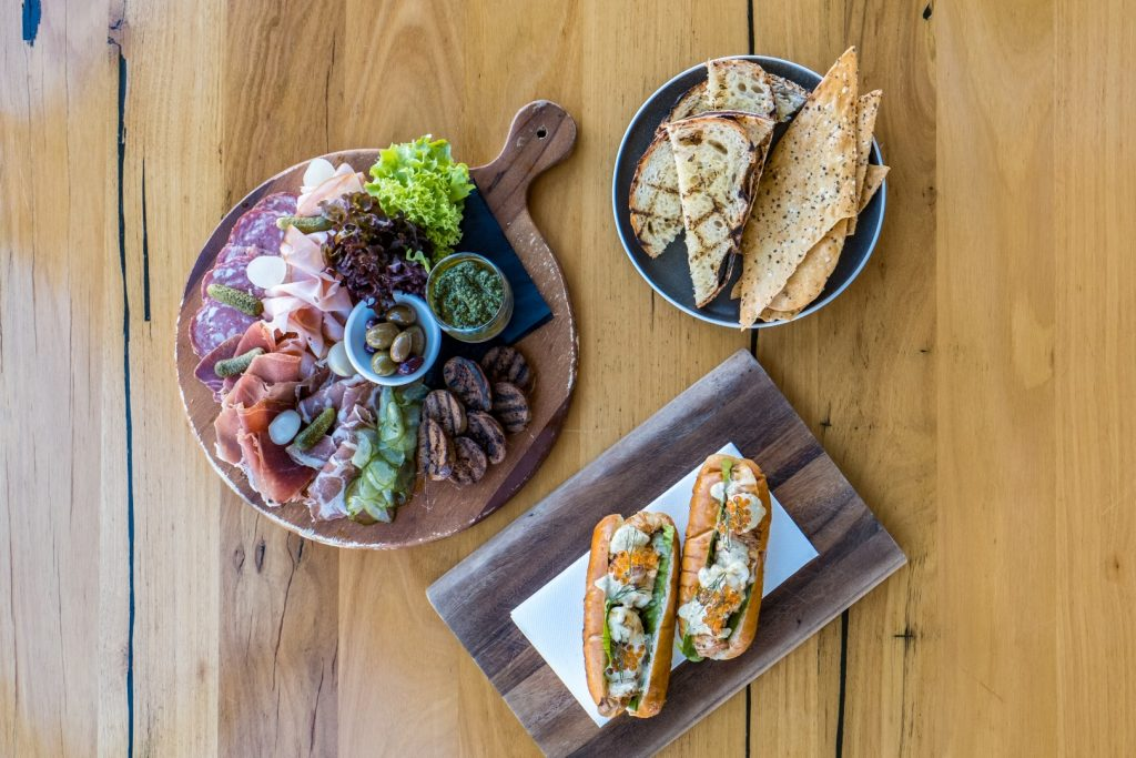 An aerial shot of various platters and boards of food