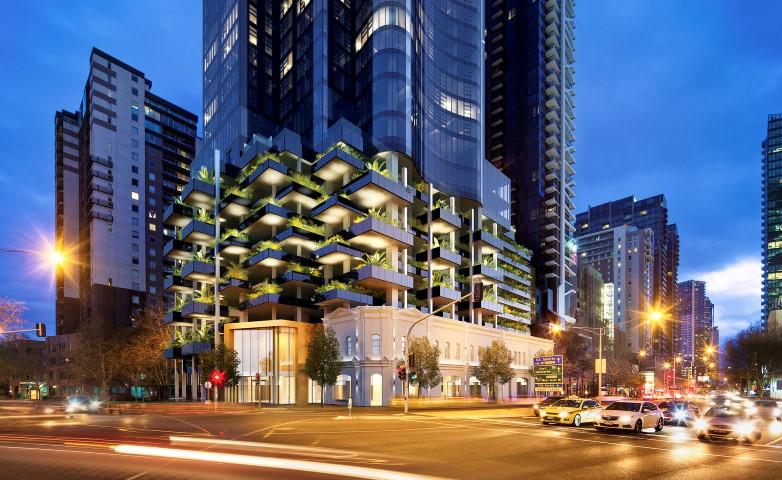 An artist's render of a modern city building