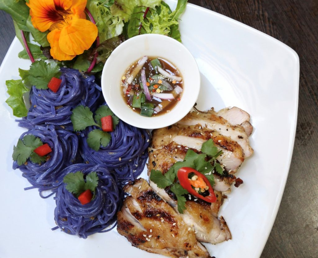 White plate with purple noodles, grilled chicken and salad.