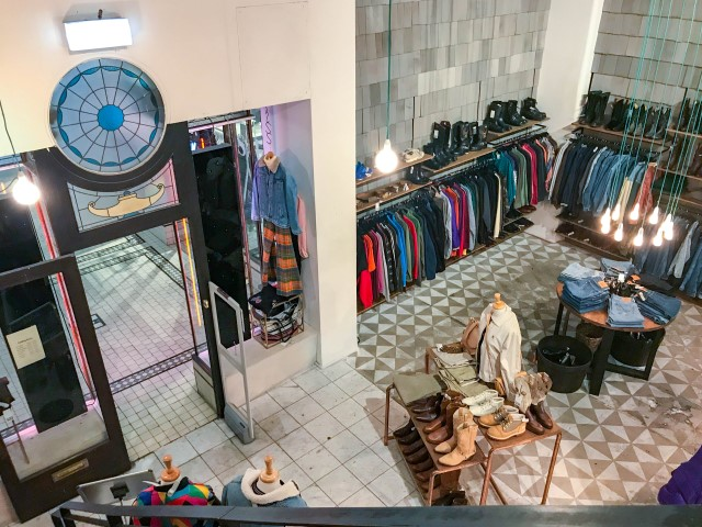 An aerial view of a vintage clothing store