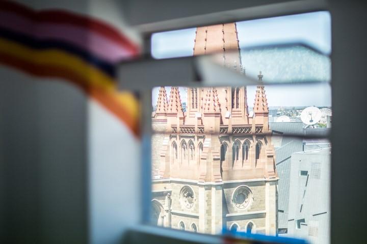 A view of a church through a window