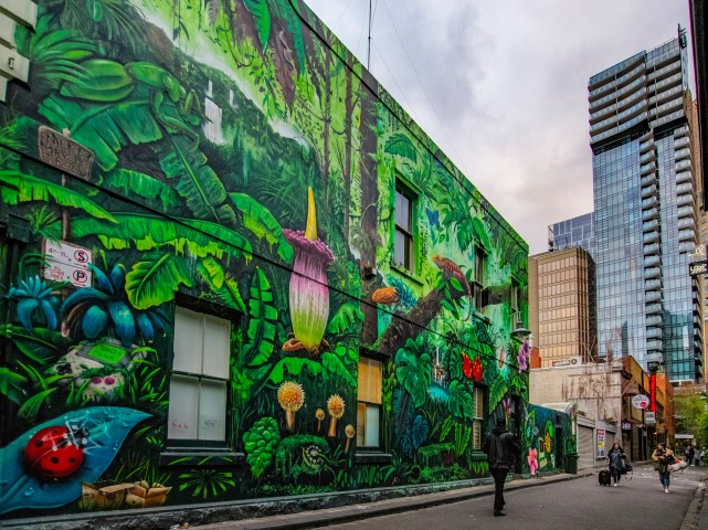 A large green street art mural on the side of a brick building, facing the street