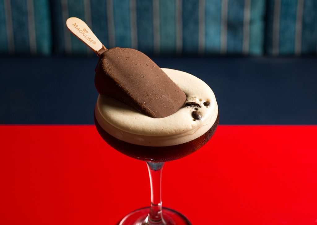 A cocktail with an ice-cream in it