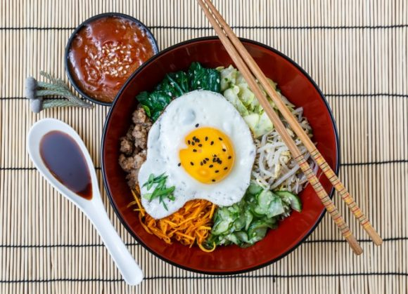 bibimbap in a bowl, korean dish from top