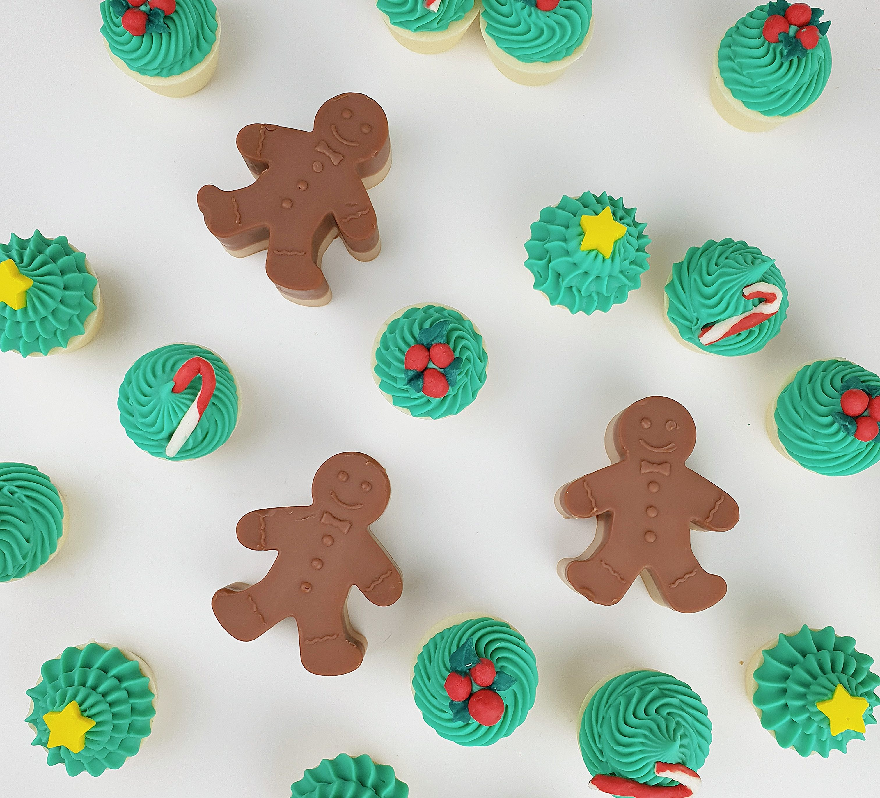 Soaps in the shape of Christmas cupcakes and gingerbread men