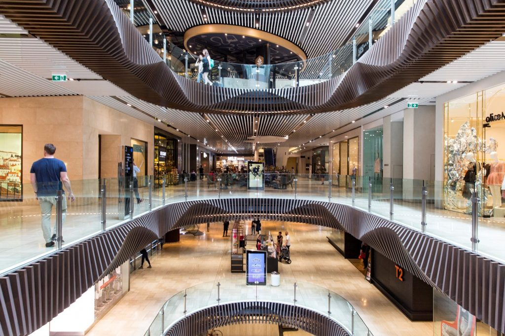 A shot on one level of a shopping centre, with a view of three different levels