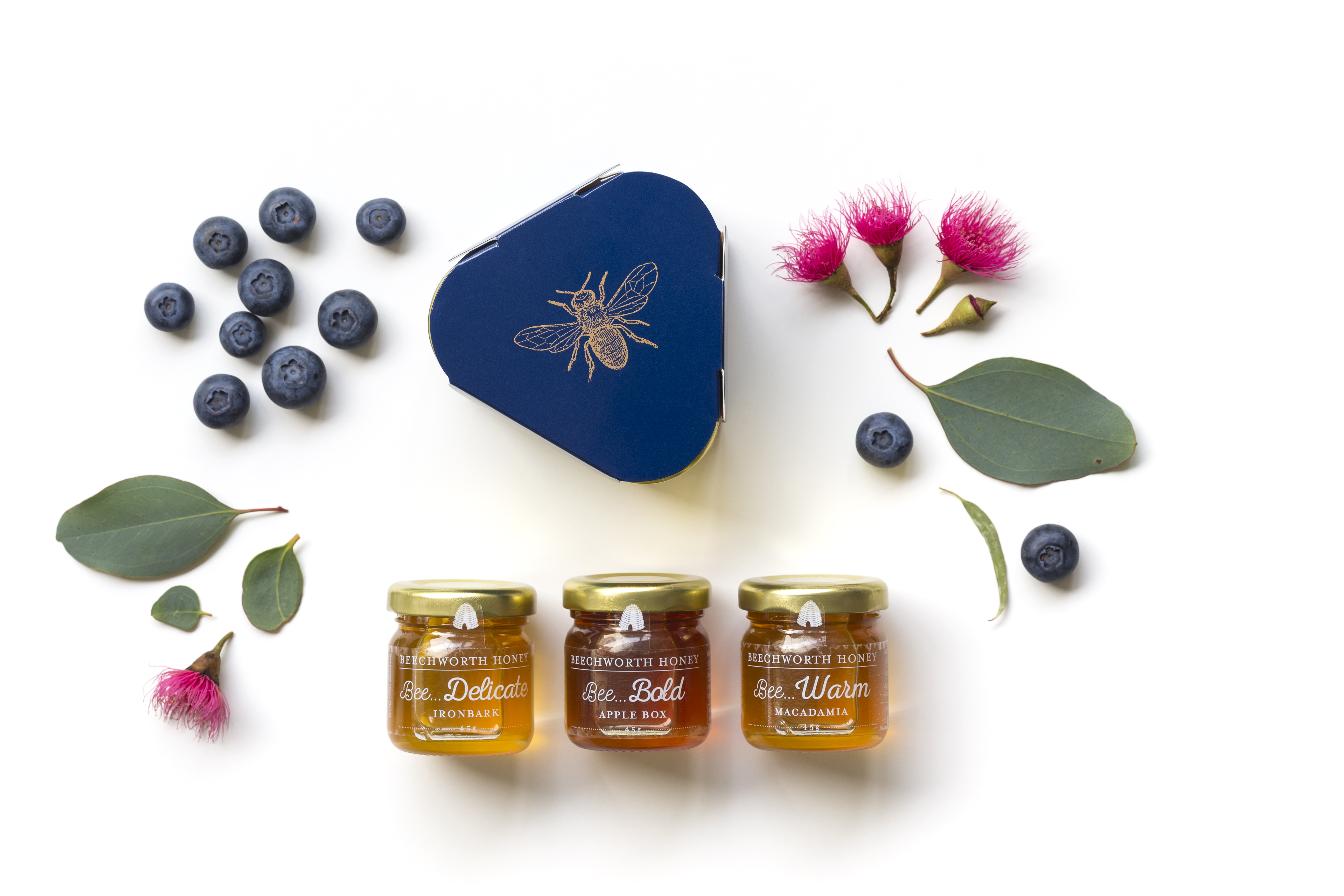 Three mini jars of honey with triangular gift box, blueberries, banksia blossom and leaves