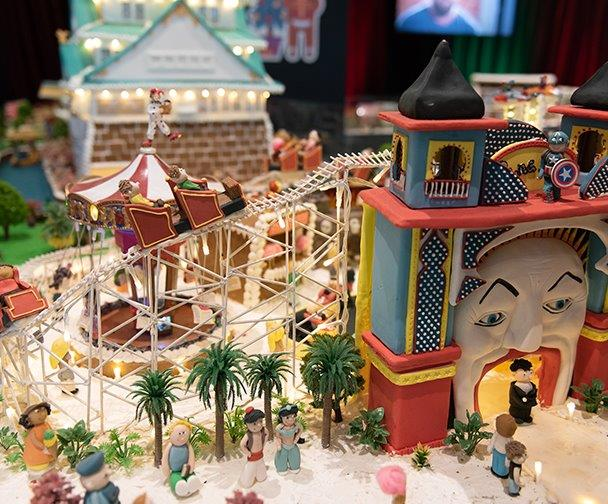 Gingerbread Village showing Luna Park complete with roller coaster, merry go round and people all made from gingerbread