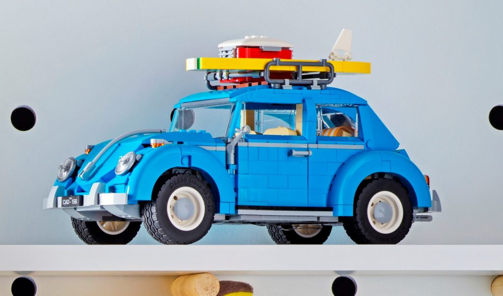 A blue Volkswagen beetle made out of lego