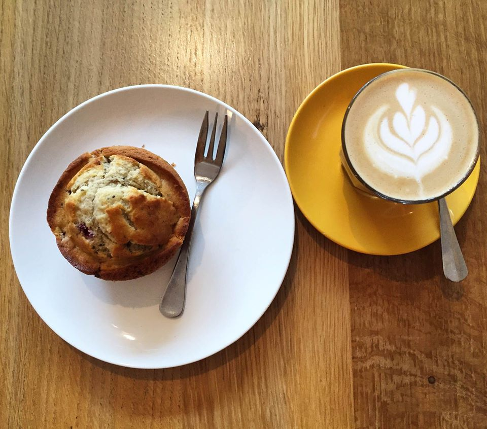 A muffin and coffee