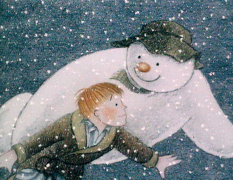 A cartoon of a boy with a snowman