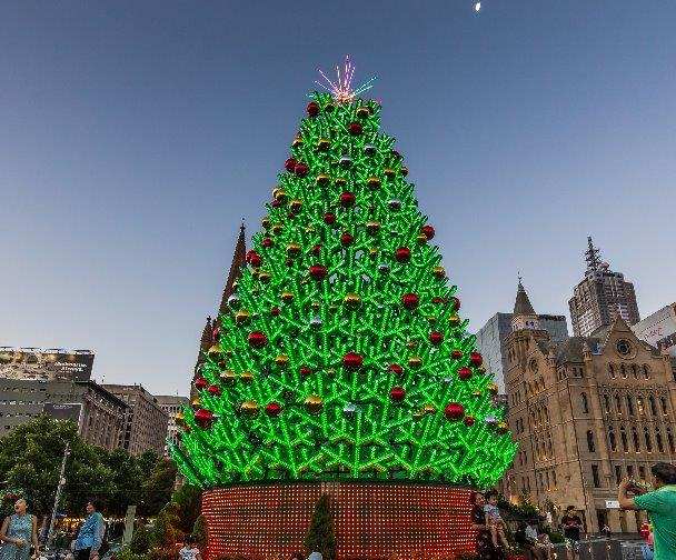 Giant LED Christmas Tree lit up with red and green lights