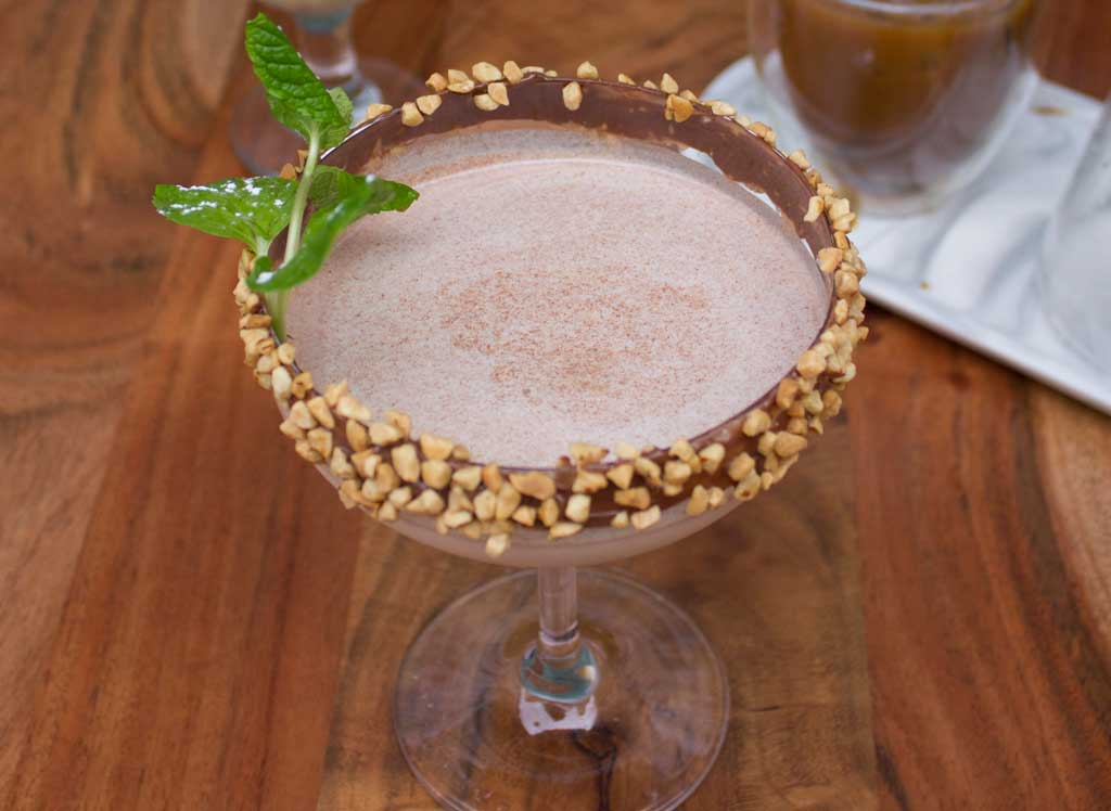 A dessert cocktail lined with chocolate