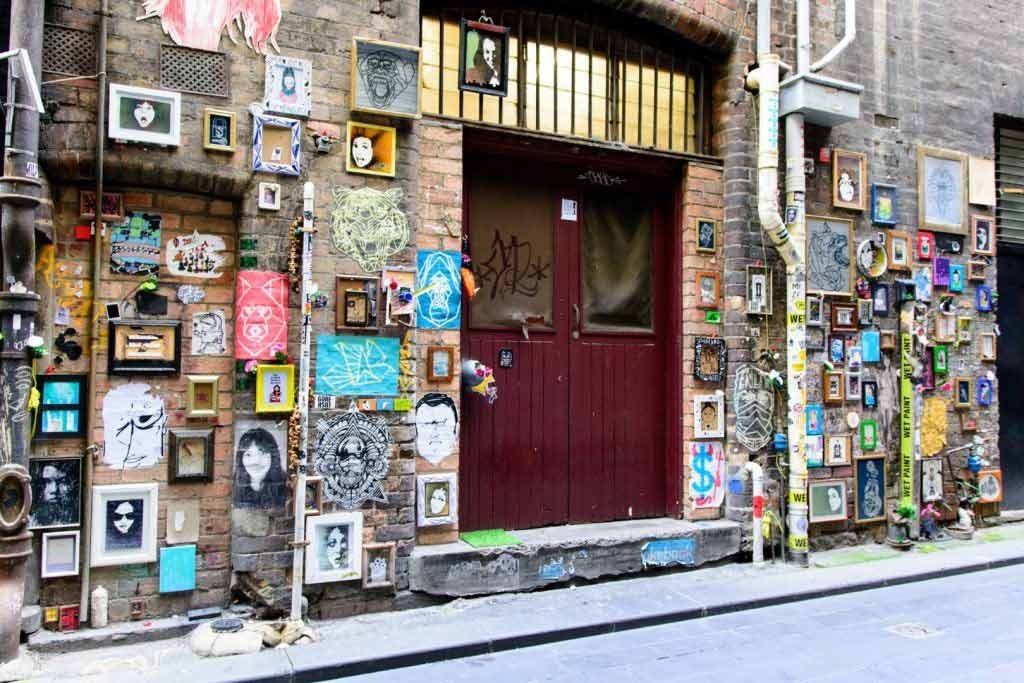 Frames and small artworks covering a laneway
