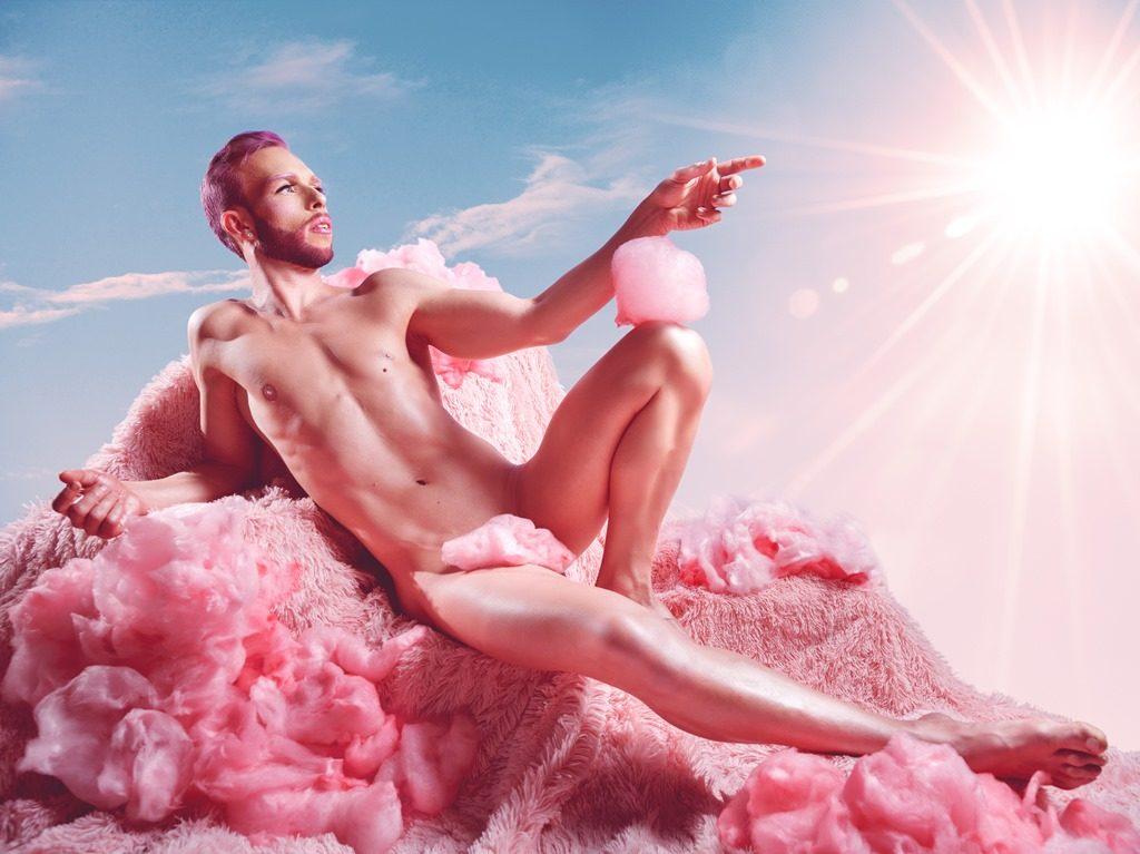 Man reclining in fairy floss