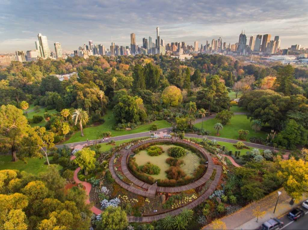 An aerial shot of a large green park